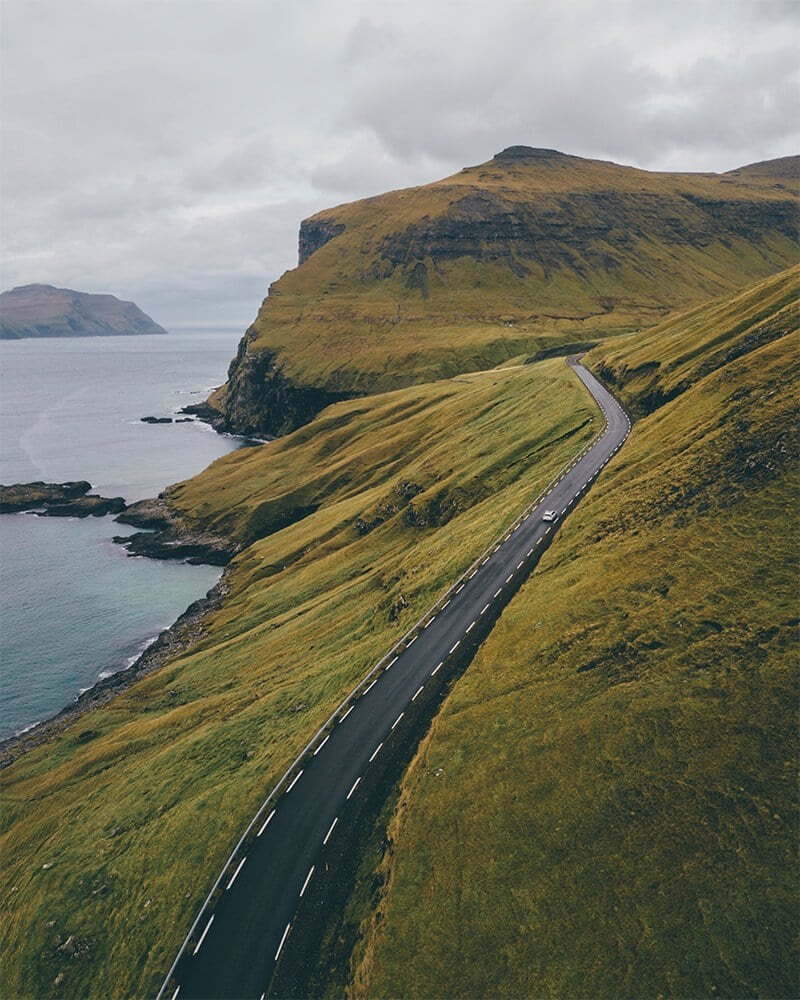 Drone shot of the road in the Faroe Islands