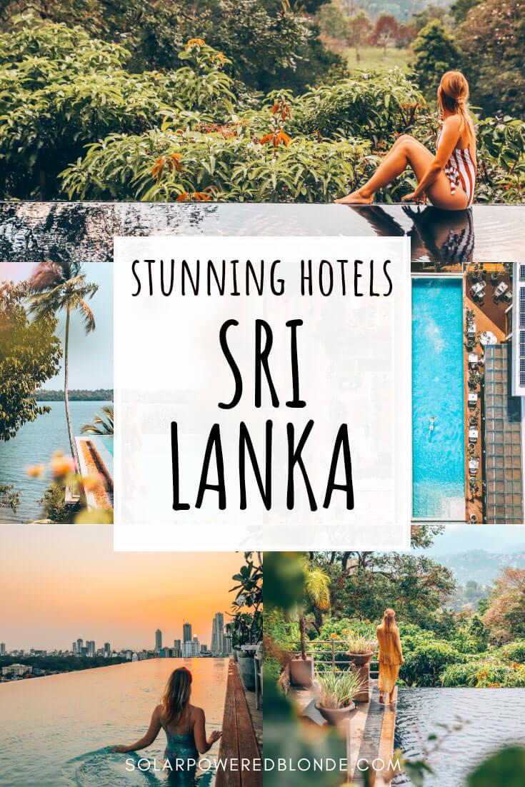 A collage of images from luxury hotels in Sri Lanka with text overlay