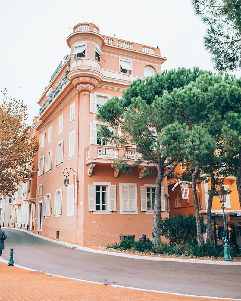 A pink building in Monaco