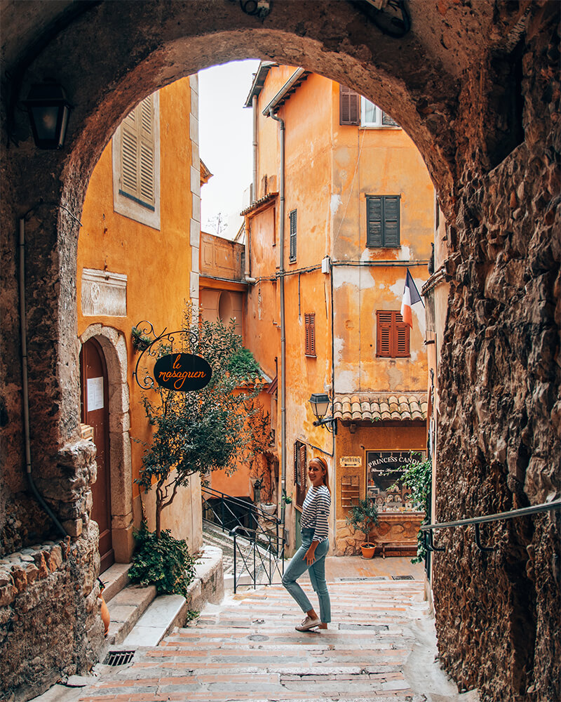 Me wandering through a street at Roquebrun Cap Martin