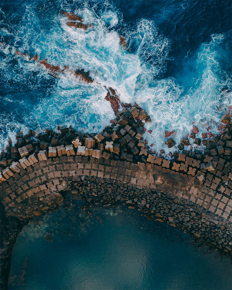 Sea pools from above taken with the drone