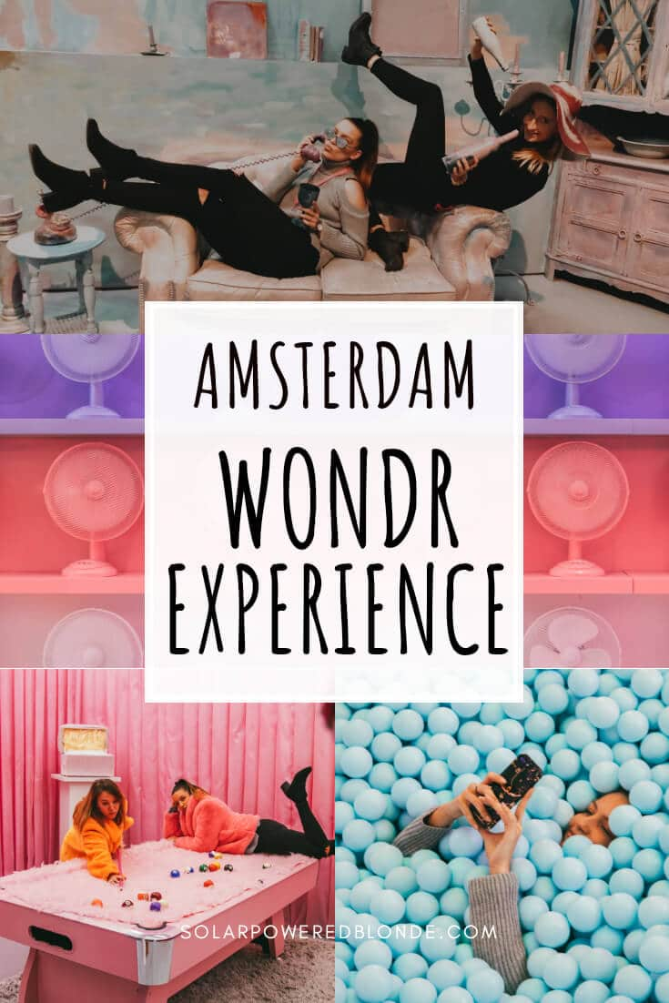 A collage of photos from Amsterdam in the rain with text overlay