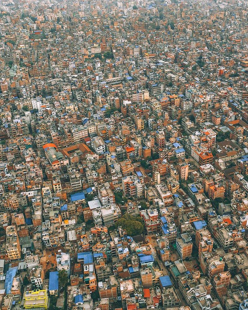 Nepal drone shot of Kathmandu