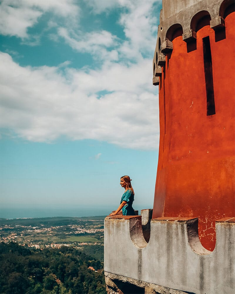 Looking out over the edge of pena palace on one day in Sintra