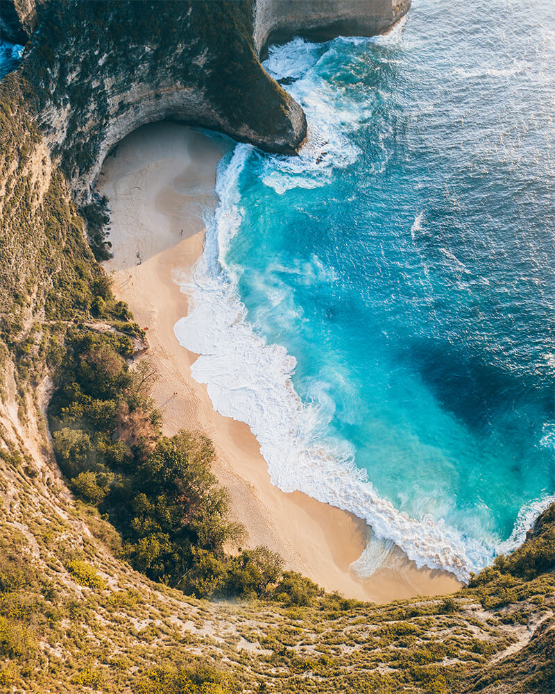 Drone shot of Kelingking Beach on Nusa Penida, Bali, Indonesia