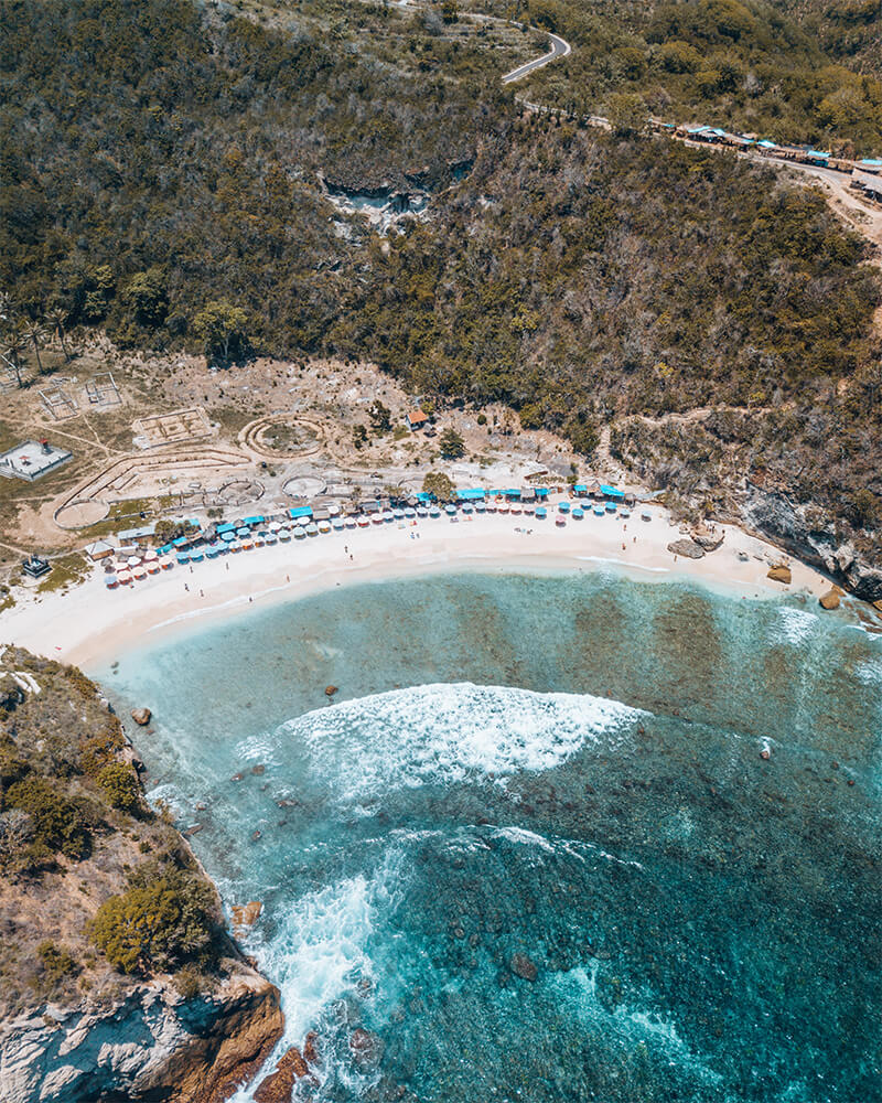 Drone shot of Atuh Beach on Nusa Penida island