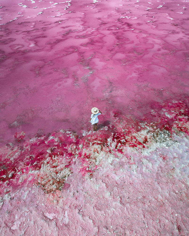 Drone shot of me stood in the pink lake at Hutt Lagoon!