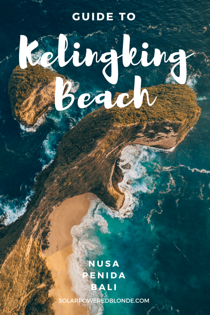 Kelingking Beach - T-Rex cliff drone shot with text overlay - Guide to Kelingking Beach, Nusa Penida