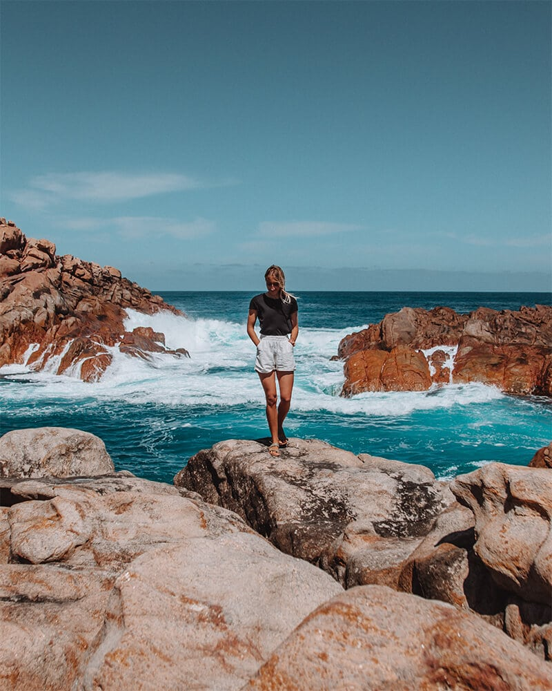 Me walking along the rocks at Canal Rocks in Yallingup, Western Australia