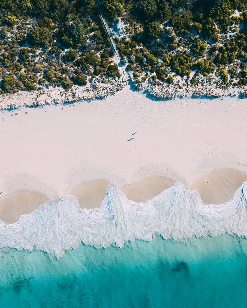 Drone shot of Bunker Bay in Dunsborough, Western Australia