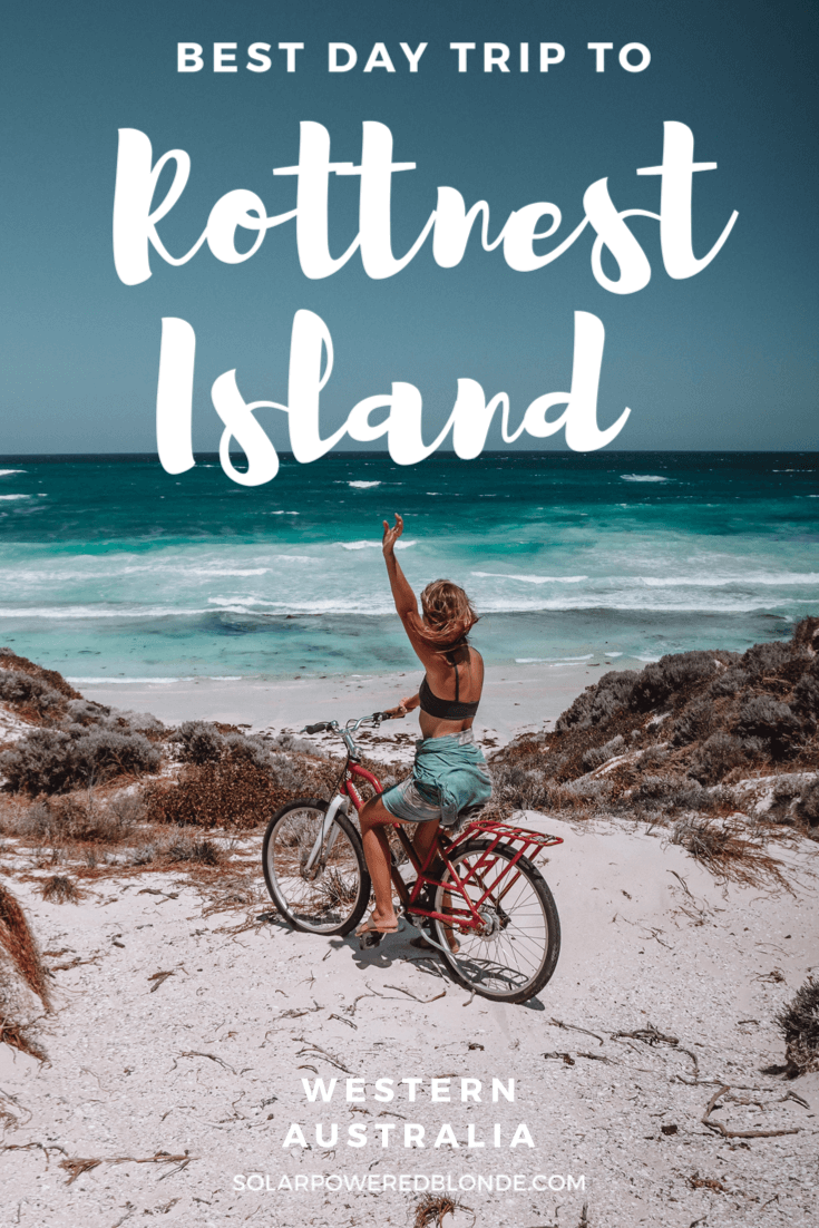 Image of a girl on a bike at the beach in Rottnest - with a pinterest graphic overlay