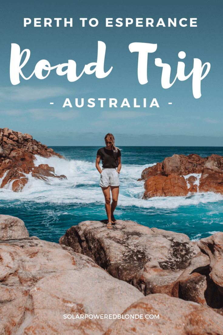 Pinterest graphic with me walking along the rocks at Canal Rocks in Western Australia, Perth to Esperance Road Trip!