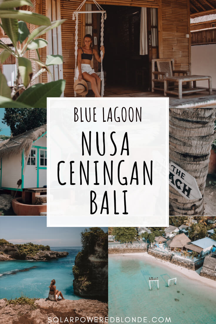 A collage of images from Nusa Ceningan in Bali, Indonesia with text overlay