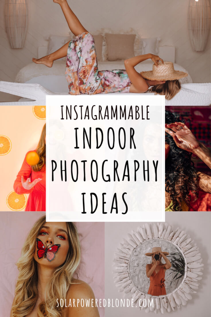 A collage of indoor photography ideas with text overlay 'Instagrammable Indoor Photography Ideas