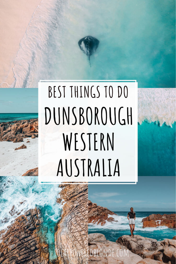 Collage of images from Hamelin Bay and Dunsborough in Western Australia with text overlay