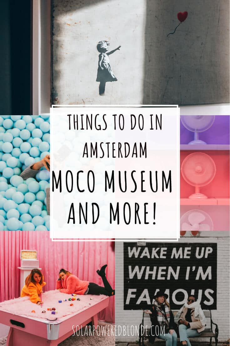 Collage of images from Moco Museum and WONDR Experience Amsterdam with text overlay