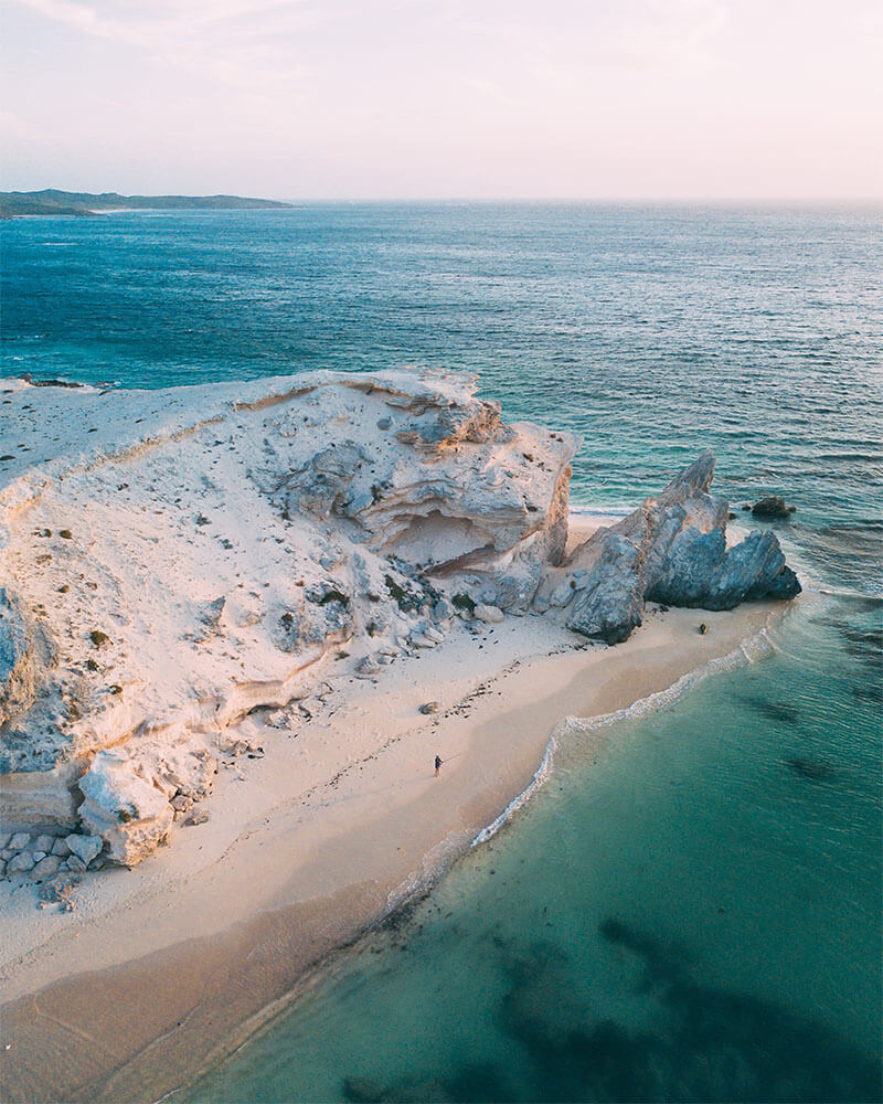 Drone shot of the beach at Hamelin Bay