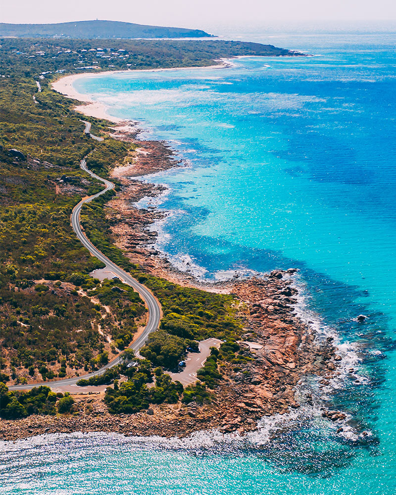 Drone shot of the path at Meelup Regional Park in Dunsborough