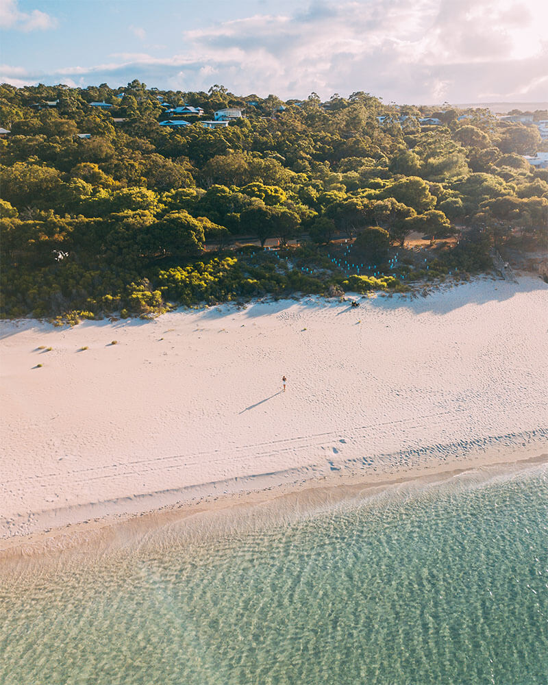 Drone shot of Eagle Bay in Dunsborough Western Australia