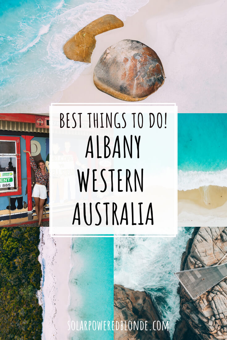 A collage of images from Two People's Bay and Frenchman Bay in Albany Western Australia with text overlay