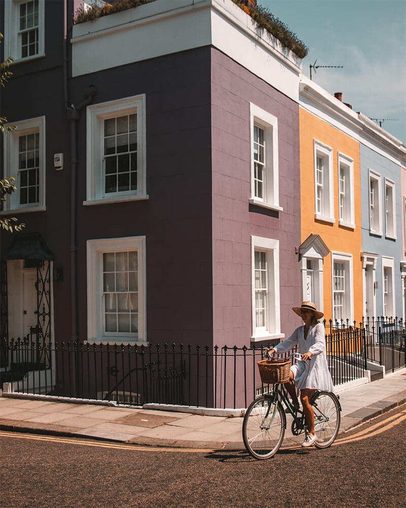 Solarpoweredblonde in Hillgate Place in Notting Hill/Kensington area - most instagrammable places in London