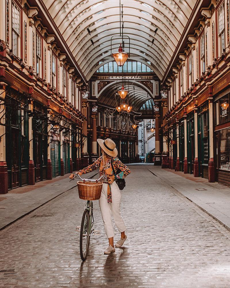 Leadenhall Market in London - girl on a bike