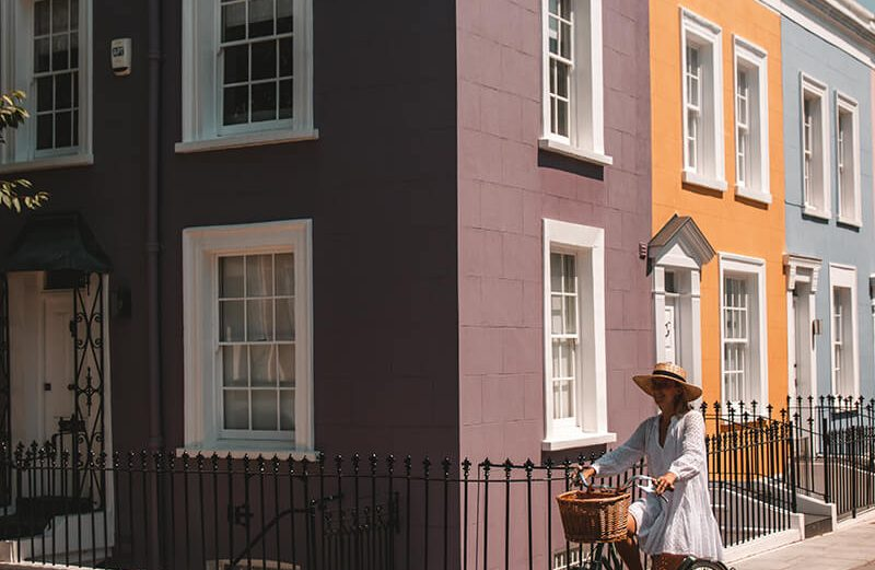 Solarpoweredblonde on a bike in Notting Hill - the most instagrammable places in London