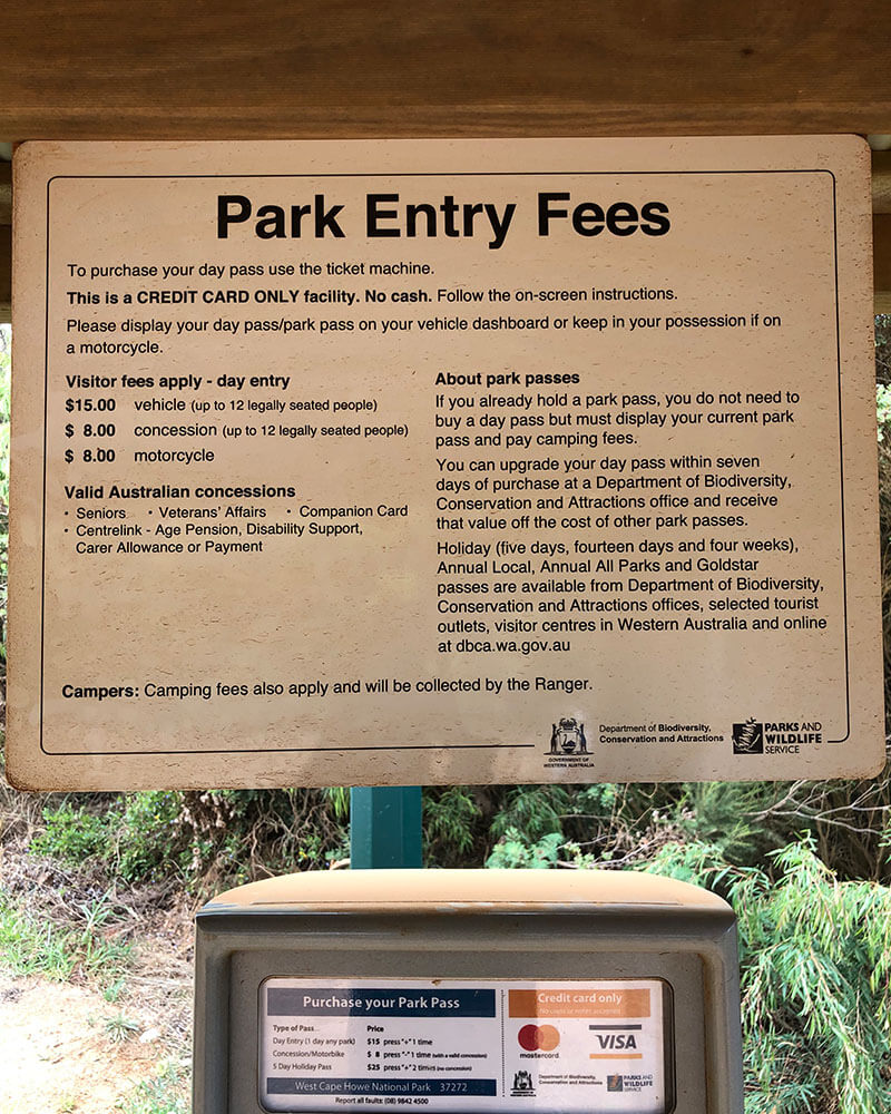 Park Entry Fees in Western Australia National Parks