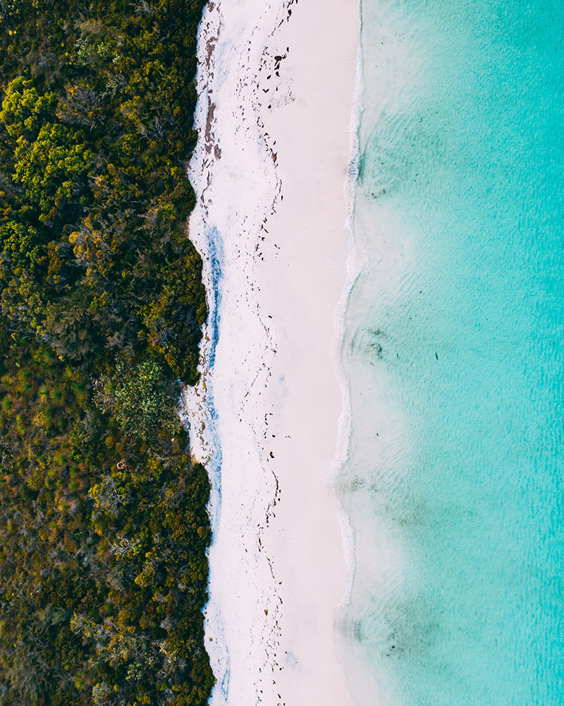 Drone shot of a beach top down
