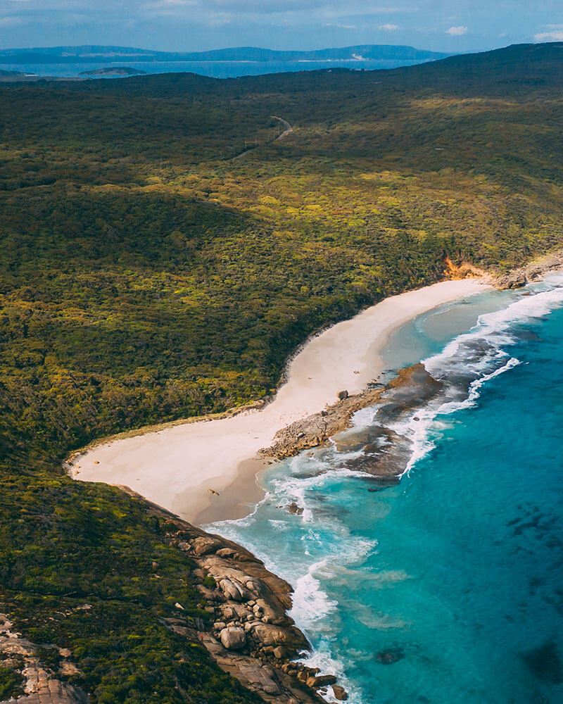 Drone shot of a beach in Western Australia - best things to do in Albany Western Australia