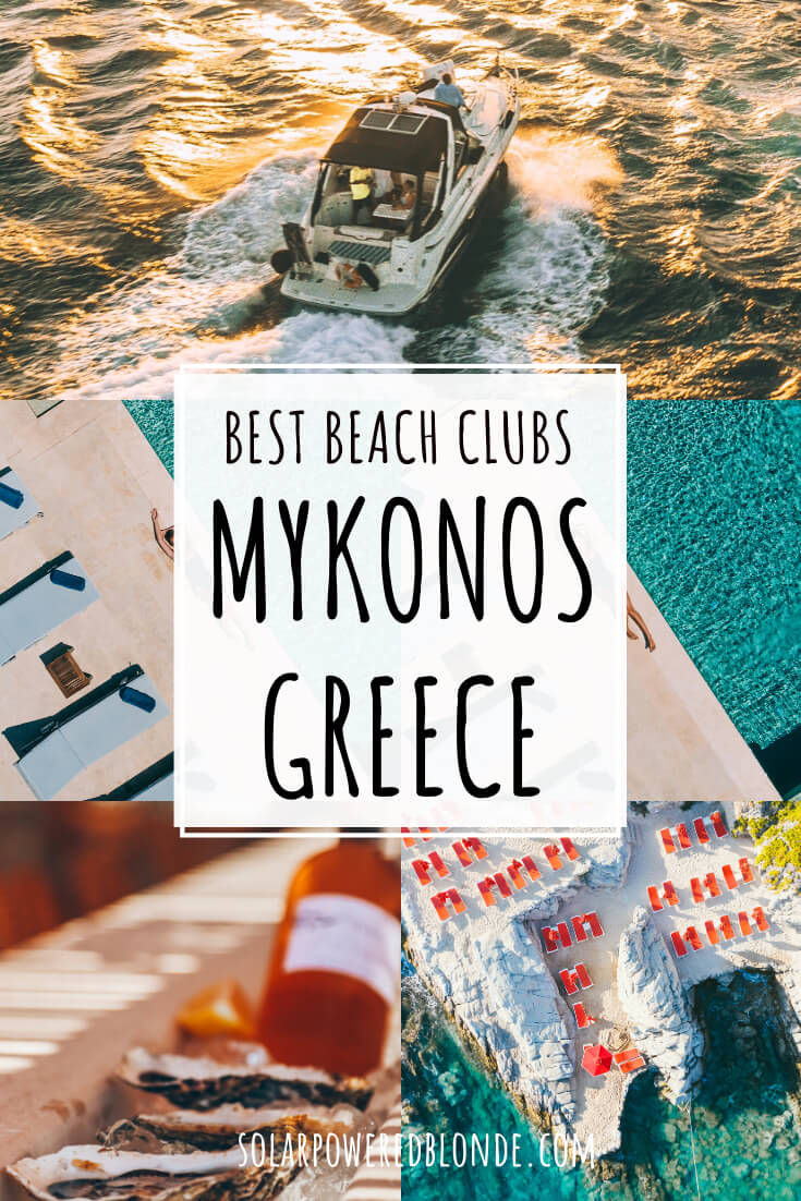 Images from beaches and clubs in Mykonos with text overlay