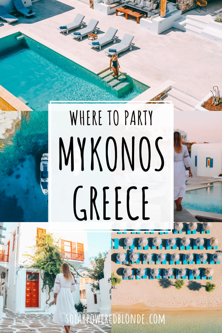 A collage of amazing beach clubs in Mykonos with text overlay