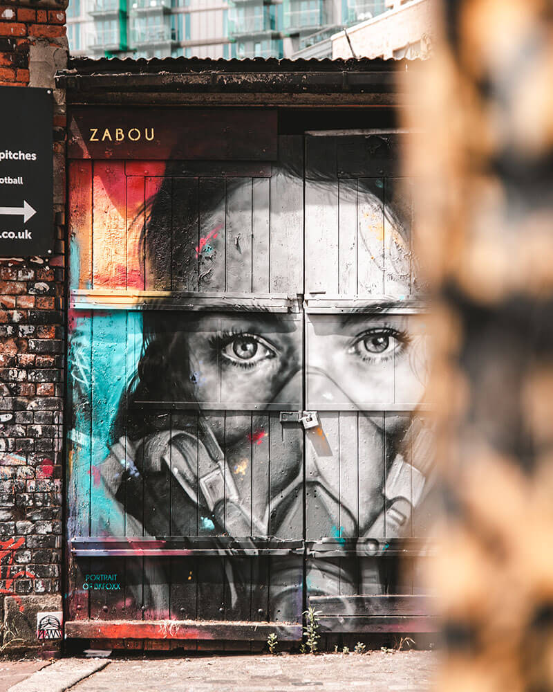 Brick lane street art of a womans face