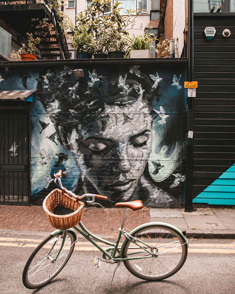 Street art on Whitby Street in Shoreditch by Jimmy C