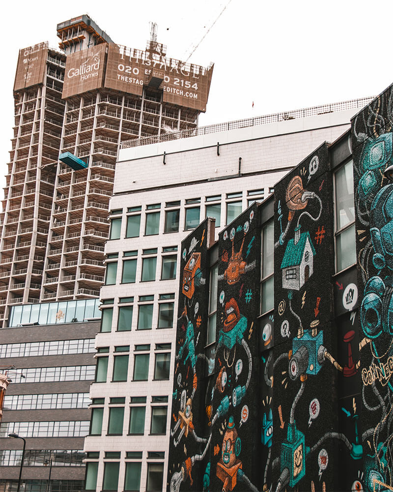 Buildings in London with street art on
