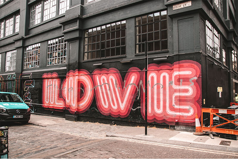 Ebor Street Art in London Shoredtich - LOVE sign by Ben Eine