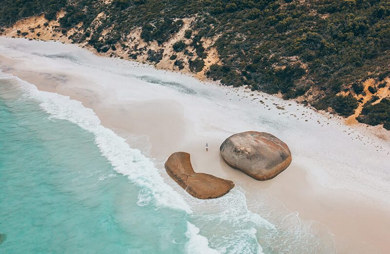 A drone shot of Little Beach in Albany, Western Australia one of the best Albany beaches