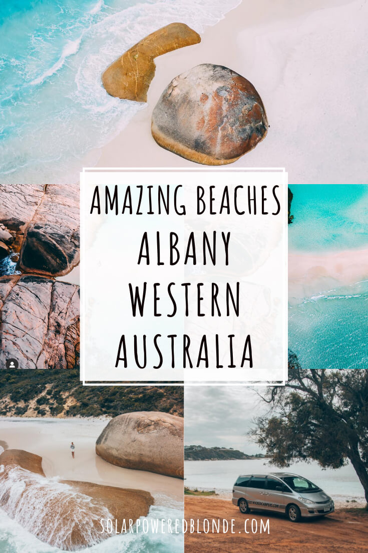 Collage of images of Albany beaches in Western Australia with text overlay - Little Beach and Two People's Bay