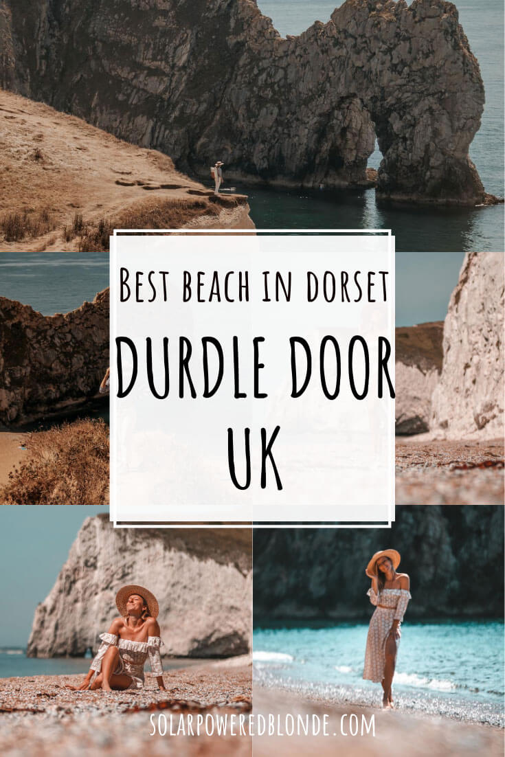 Collage of images from Durdle Door Dorset with text overlay