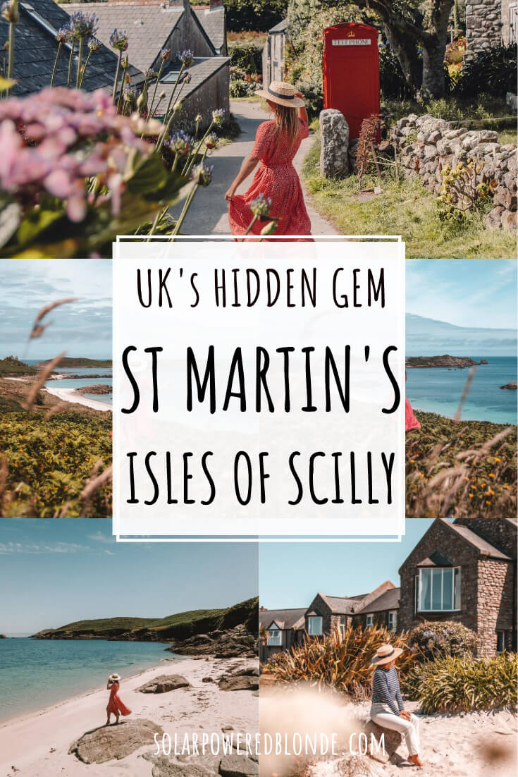 Collage of images from St Martin's Isles of Scilly, near Cornwall UK with text overlay