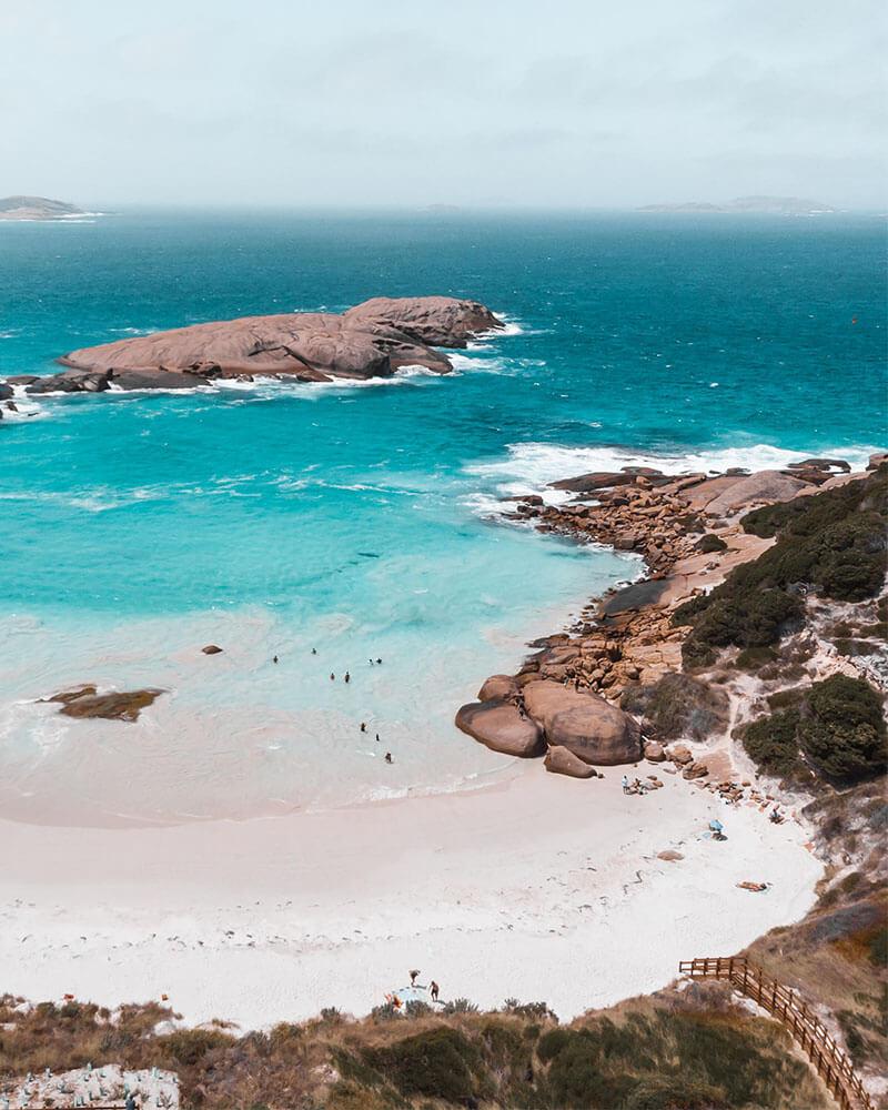 Drone shot of Twilight beach in Western Australia