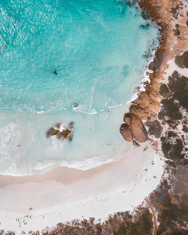 Twilight beach drone shot in Western Australia