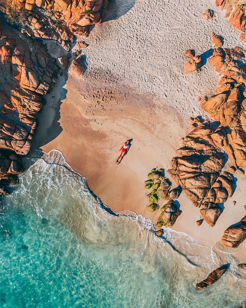 Solarpoweredblonde in Sardinia - drone shot of Cala Coticcio