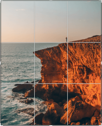 Image of rule of thirds on a photo taken in the Algarve Portugal at sunset