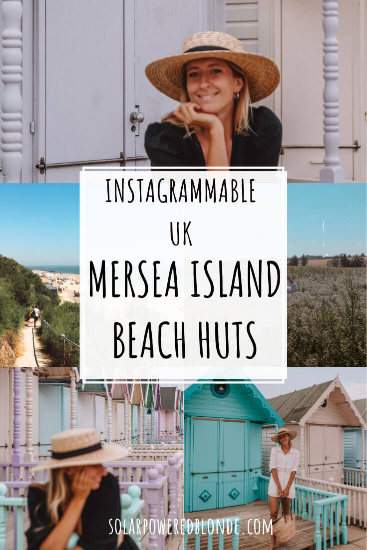 Pinterest Graphic with images from West Mersea beach huts and blue sky