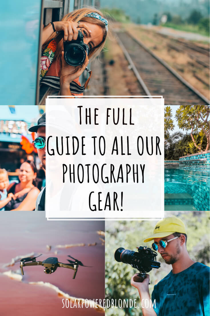 Collage of images of photography and cameras, drone and the best camera for travel photography for Pinterest