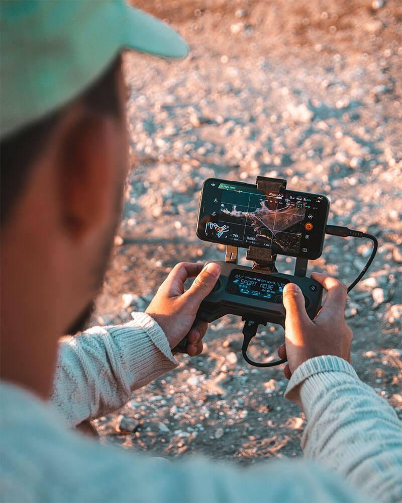 Drone clip on a Mavic 2 Pro by PolarPro