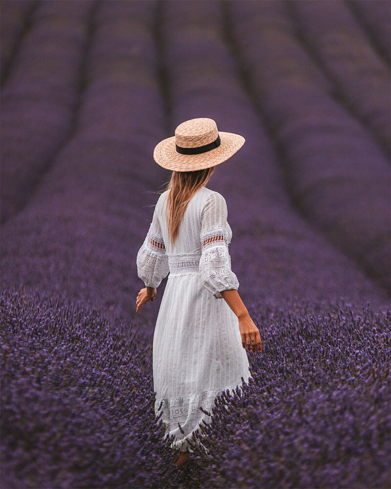 Solarpoweredblonde stood in a lavender field taken with a 70-200mm lens
