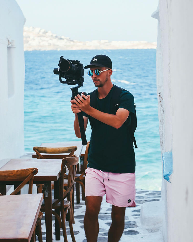 Boyan with a video camera in Mykonos