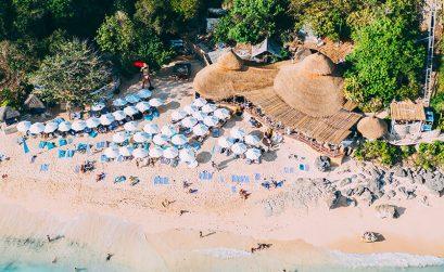 Drone shot of a Bali beach club - Karma beach Bali